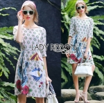Lady Kate Surreal Printed Sequin and Beads Embroidered Dress