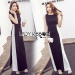 Lady Emily Minimal Sexy Cut-Out Black and White Maxi Dress