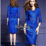 Luxury Blue Lace Glitter Style Korea Dress
