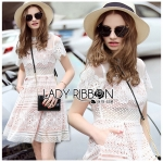 Lady Monica Modern Cool Organza and Mixed Lace Dress in White