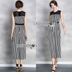 Lady Lily Minimal Chic Striped Wide-Leg Jumpsuit with Belt