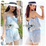 Lady Ellie Summery Strappy Cotton Lace Top and Shorts Ensemble Set