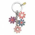 พวงกุญแจ COACH F69937 SV/MC Spring Daisy Flower Keyfob Keychain Multi Color