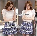 Lady Helena Sweet Casual Lace Top and Printed Skirt Set