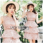Lady Layla Baby Pink Ruffle Layered Embroidered Lace & Cotton Dress