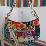 COACH มือสองสภาพดี COACH F20039 Poppy Multi Metallic Gold Swingpack Convertible Crossbody Bag