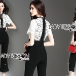 Lady Fiona Smart Casual Black and White Lace Jumpsuit with Pearl Embellishment