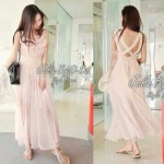 Maxi Dress Cute Pastel Style Korea (สีขาว)