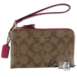 สินค้าพร้อมส่ง » กระเป๋า COACH F64131 IMEYS DOUBLE CORNER ZIP WRISTLET IN SIGNATURE COATED CANVAS GOLD/KHAKI/DAHLIA