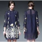 Luxurious Navy Silk Embroidered Shirt Blouse