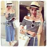 Lady Summery Off-Shoulder Striped Top and Button-Down Denim Skirt Set