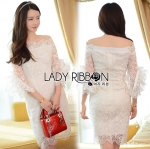 Lady Leslie Pure Feminine Off-Shoulder White Lace Dress with Ribbon