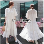 Lady Jenny Laser-Cut and Embroidered White Cotton Dress