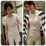 Sweetie Knit White Camellia & Lace Pearl T-Shirt
