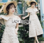 Lady Kelly Off-Shoulder Embroidered Cotton Dress