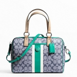 สินค้าพร้อมส่ง » กระเป๋า COACH F24362 SVBHS SIGNATURE STRIPE CROSSBODY NAVY JADE SATCHEL HANDBAG