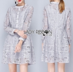 Lady Glenda Embellished Pale Grey Lace Dress