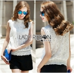 Lady Anna Classic Vintage High-Neck Lace Blouse