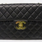 "กระเป๋ามือสอง » CHANEL Black Lamb Skin JUMBO 13"" Chain Cross Body Shoulder Bag"