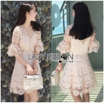 Lady Anna Sweet Feminine Floral Pink Lace Dress