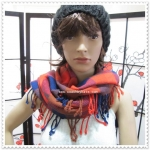 ผ้าพันคอ COACH F83830 ONE RED MULTICOLOR PLAID OVERSIZE SQUARE SCARF