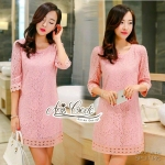 Annie dress pink lace embroidery Lady by Aris Code