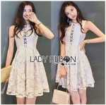 Lady Yves Off-White Crepe with Pastel Lace Dress