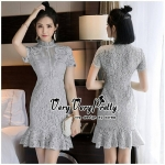 Elegant Sweetie Grey Lace Dress