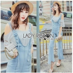 Lady Isabelle Denim Overall Jumpsuit and Cotton Camisole Set