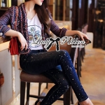 กางเกงยีนส์ Lady Kim Skinny Jeans with Crystal Embellished