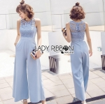 Lady Calinda Baby Blue Lace and Crepe Jumpsuit