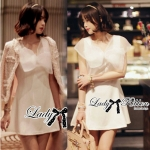 Lady Jane Sweet Delicate Ribbon Dress (สีขาว)