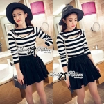 Lady Maria Cut-Out Striped Top and Flared Skirt Set