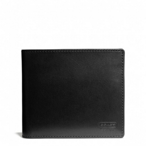 กระเป๋าสตางค์ COACH F74764 BLK Water Buffalo Leather Compact ID Wallet Billfold