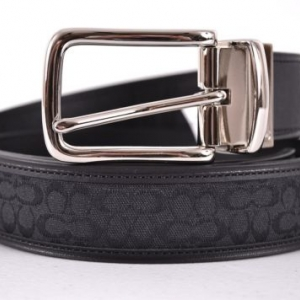 เข็มขัดชาย COACH MEN'S F90107 BK/BK SIGNATURE C JACQUARD & LEATHER REVERSIBLE BELT