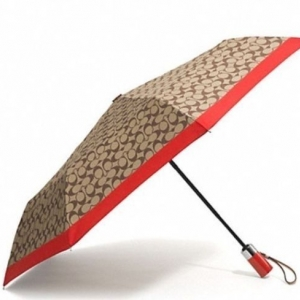 ร่มกันฝน COACH F62553 SKHVR Park Signature Umbrella, Silver/Khaki/Vermillion