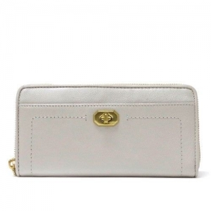 กระเป๋าสตางค์  Coach F50445 B4/PZ Campbell Turnlock Leather Wallet Pearl White
