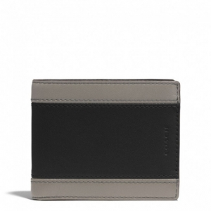 กระเป๋าสตางค์ COACH 74792 SL/BK HERITAGE colorblock leather Wallet compact ID case holder
