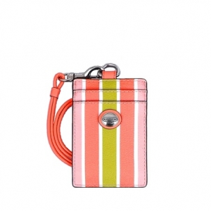 ที่ใส่ ID CARD COACH 69805 SV/MC Peyton Multi Stripes Lanyard ID Holder Multi โทนชมพู
