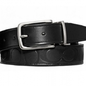 เข็มขัดชาย COACH MEN'S F66125 SBKBK LEATHER MONOGRAM LOGO CUT TO FIT REVERSIBLE BELT