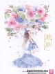 Flower & Girls Beauty Illustration Watercolor Art Painting by Miao Miao
