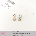 Golden Circle & Square Tiny Earrings (ตัวเรือนทำจากเงินแท้)