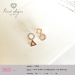 Pink Golden Circle & Square Tiny Earrings (ตัวเรือนทำจากเงินแท้)
