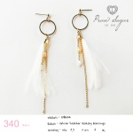 White Grey Feather Gatsby Earrings