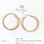 Pink Golden Gem Trendy Hoop (4cm) Earrings