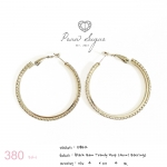 Black Gem Trendy Hoop (4cm) Earrings