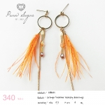 Orange Feather Gatsby Earrings