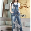 Lady Tanya White T-Shirt and Sequin Embroidered Denim and Lace Overall Dress Set