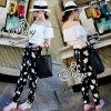 Two Pieces Of Open Shoulder White Top With Elastic Printed Flora Chiffon Pants Sets