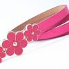 Leather belt - Rose Red